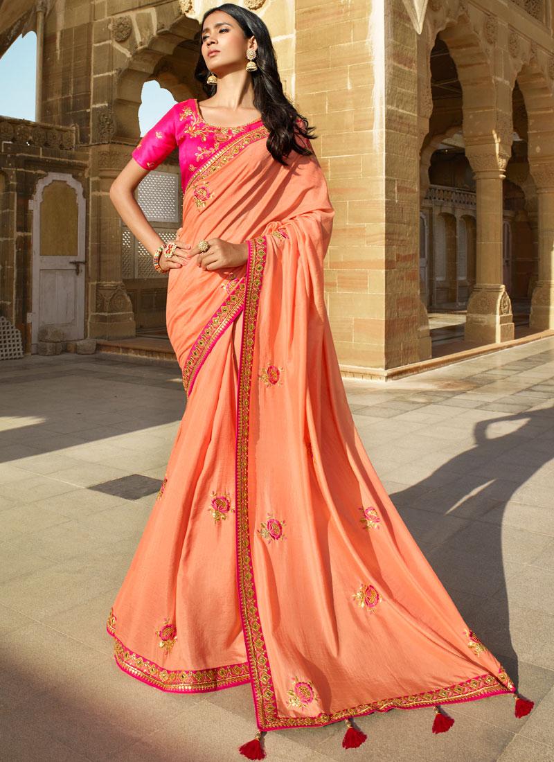 Peach Mehndi Designer Saree