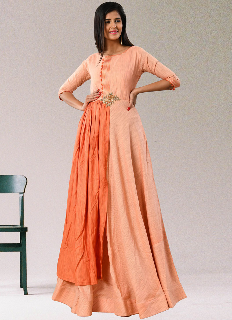 Peach Party Party Wear Kurti