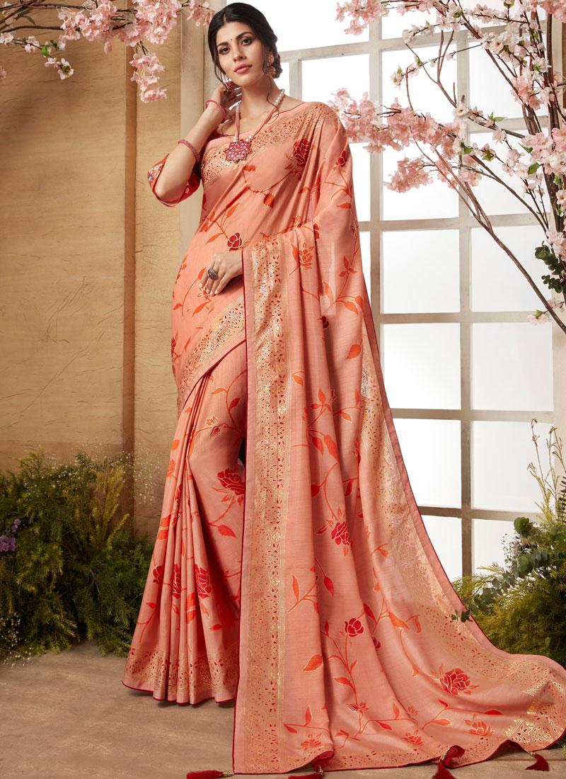 Peach Print Printed Saree