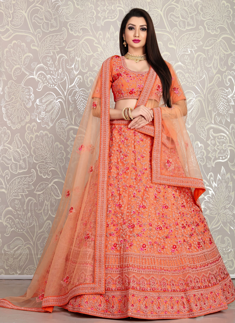 Peach Thread and Dori Embroidery Net Ghagra Choli