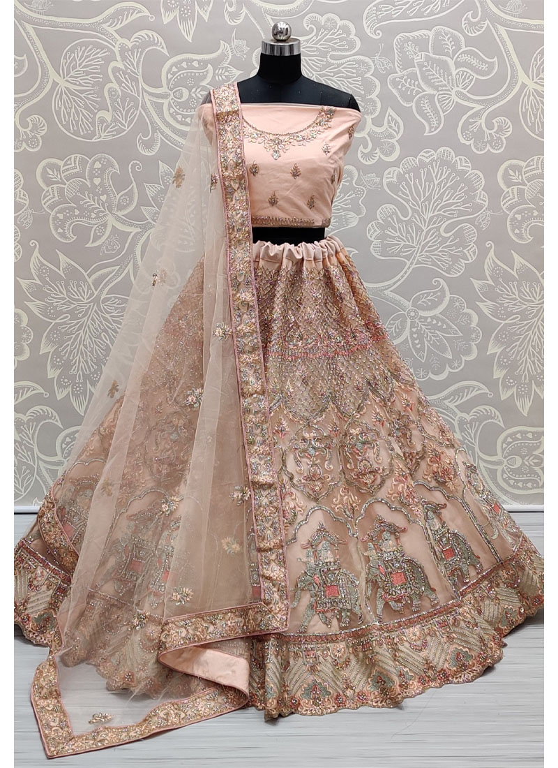 Peach Wondrous embroidered full of Zarkan diamond on Net wedding Lehenga choli