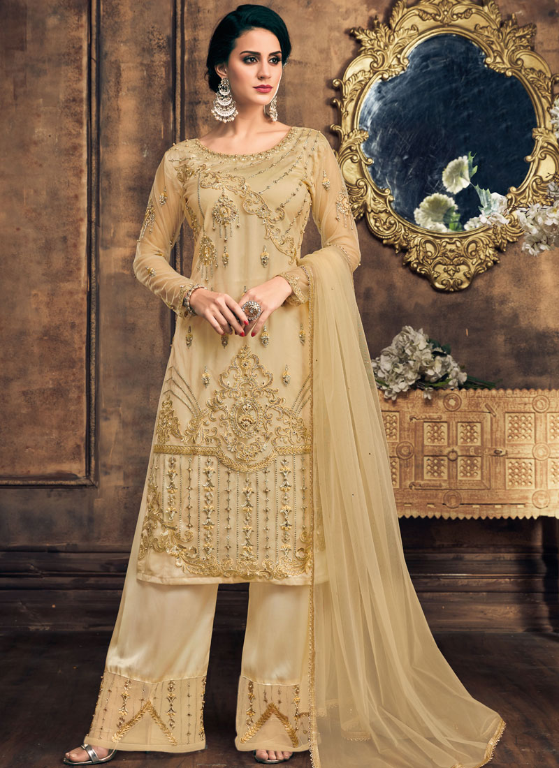 Pearls Net Designer Pakistani Salwar Suit in Gold