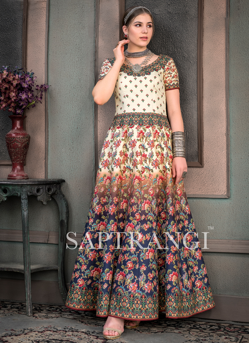 Perfervid Fancy Fabric Embroidered Designer Gown