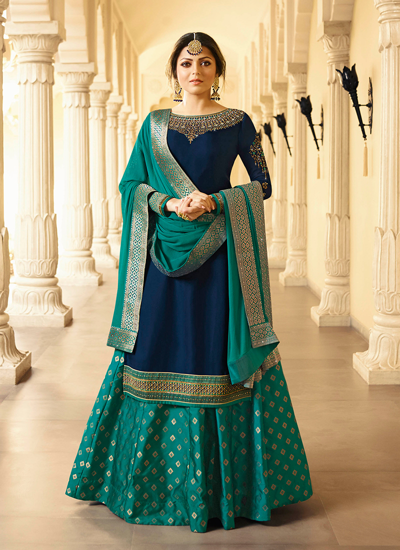 94cc1c5d00 Perfervid Georgette Satin Navy Blue Embroidered Trendy Lehenga Choli. Hover  to zoom