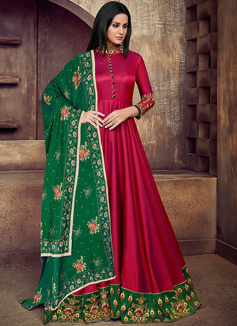 Phenomenal Tafeta Silk Hot Pink Readymade Anarkali Suit