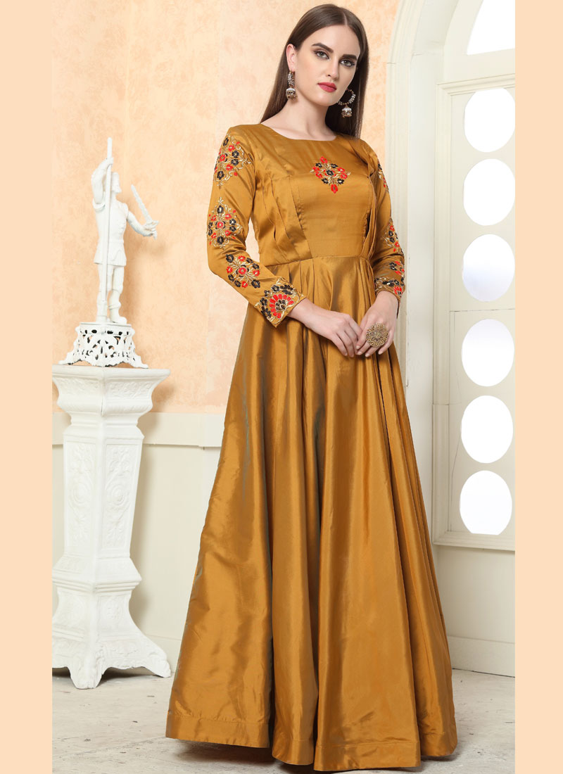 Picturesque Gold Readymade Gown