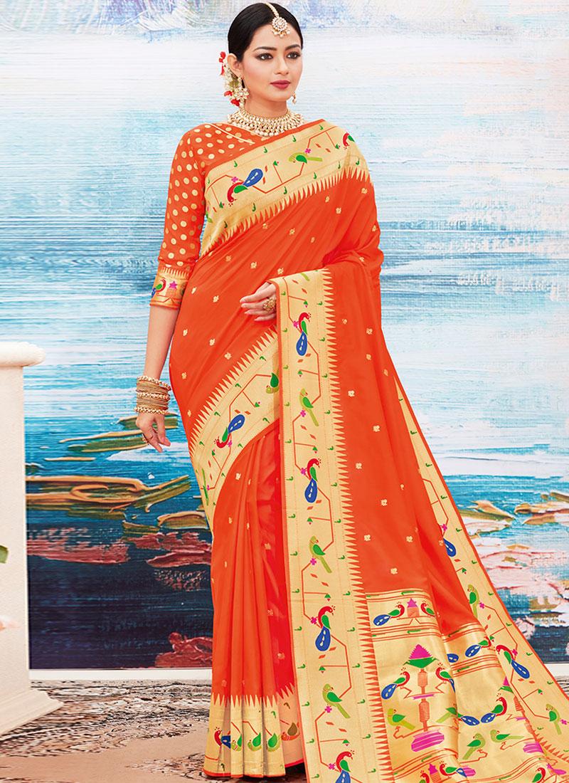 Picturesque Woven Orange Art Silk Designer Traditional Saree