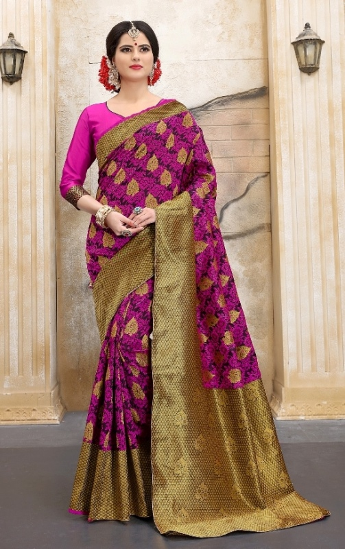 Pink and Golden silk base abstract print banarasi saree