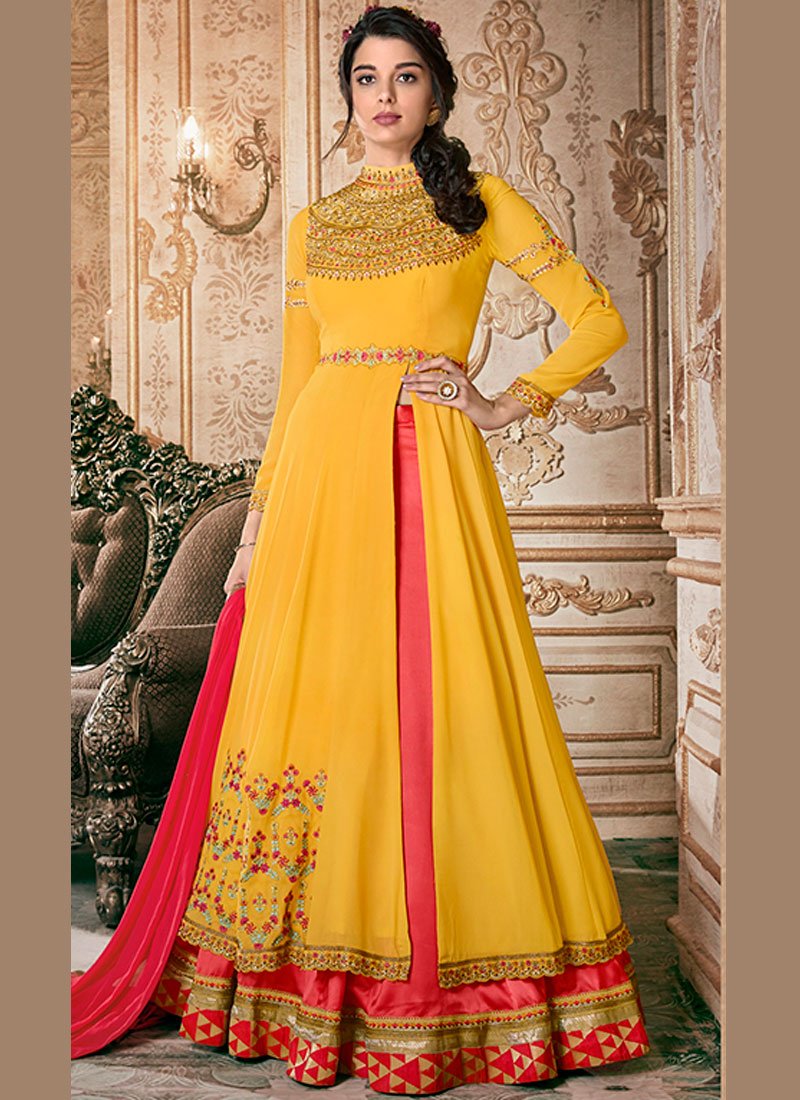 Pink and Yellow Floor Length Anarkali Suit