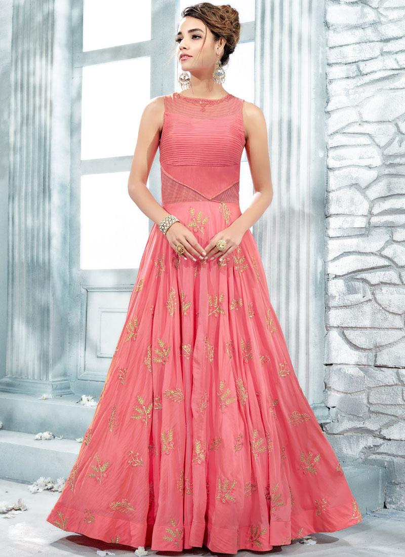 Pink Art Silk Designer Gown
