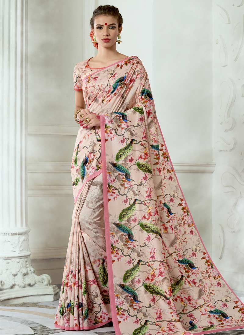Pink Casual Tussar Silk Casual Saree