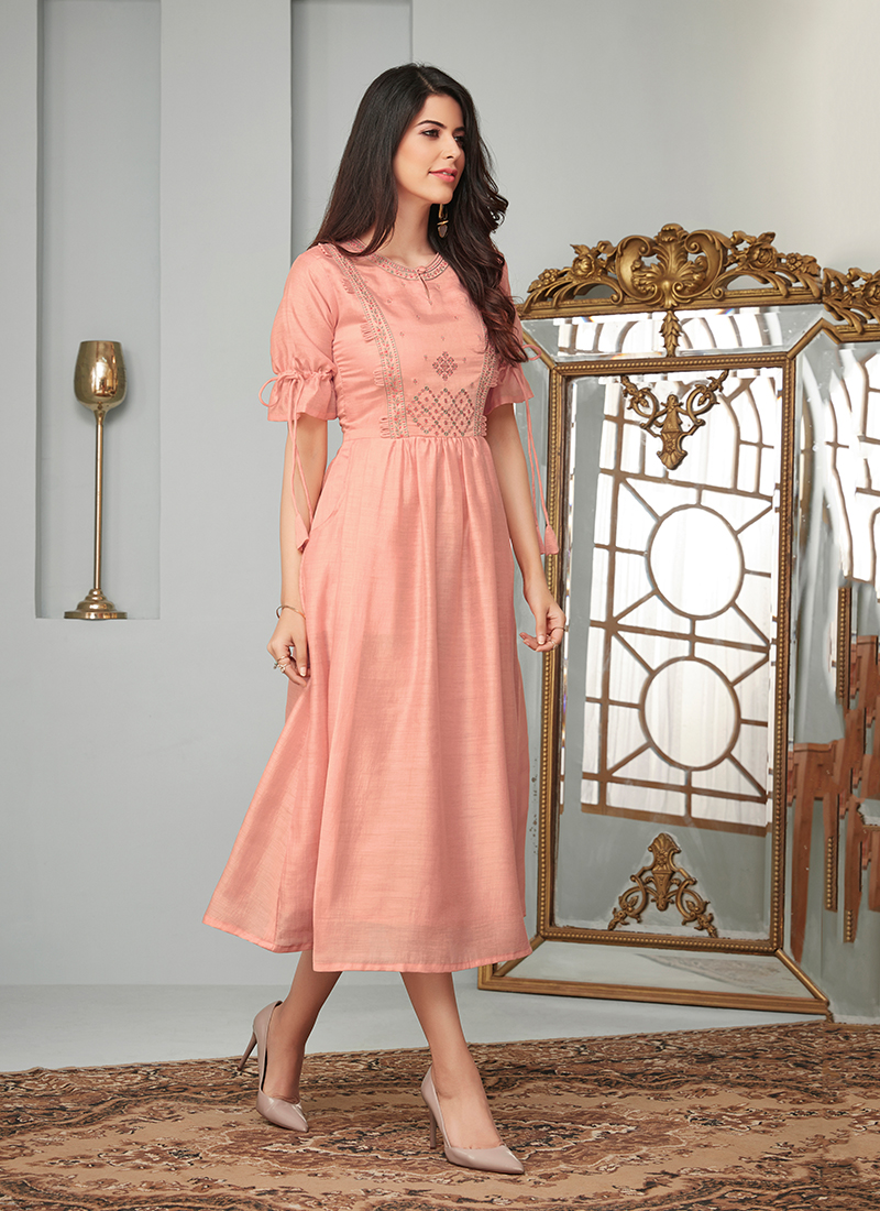 Pink Embroidered Cotton Party Wear Kurti
