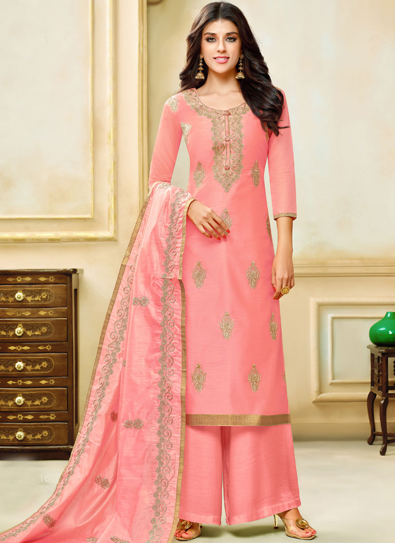 Pink Embroidered Festival Designer Palazzo Suit