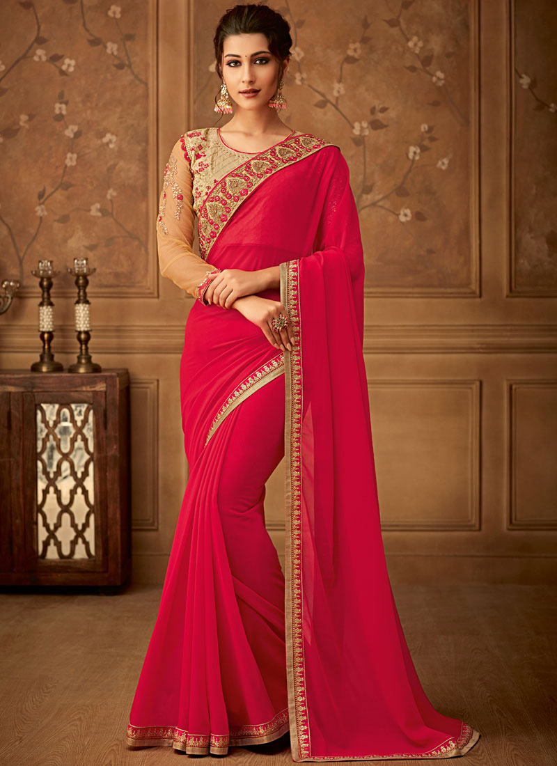 Pink Embroidered Georgette Designer Saree