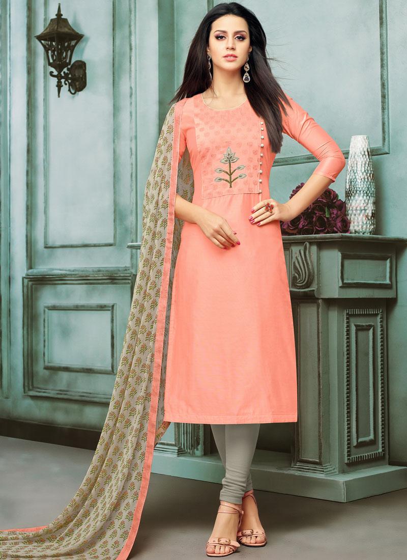 eead9e88e1 Pink Festival Chanderi Cotton Churidar Salwar Kameez. Hover to zoom