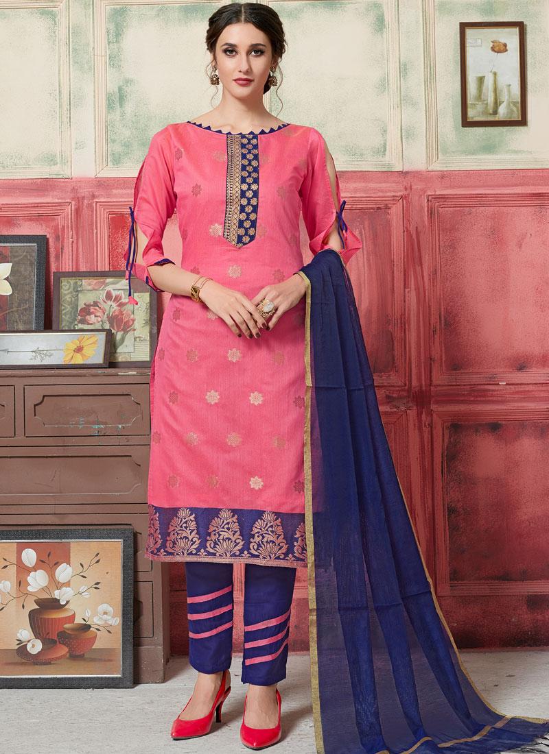 Pink Festival Jacquard Silk Designer Suit