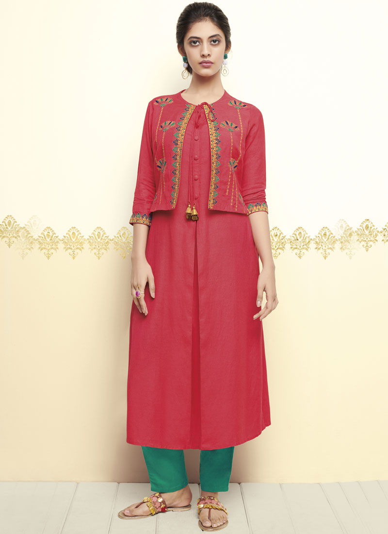 Pink Thread Work Party Party Wear Kurti