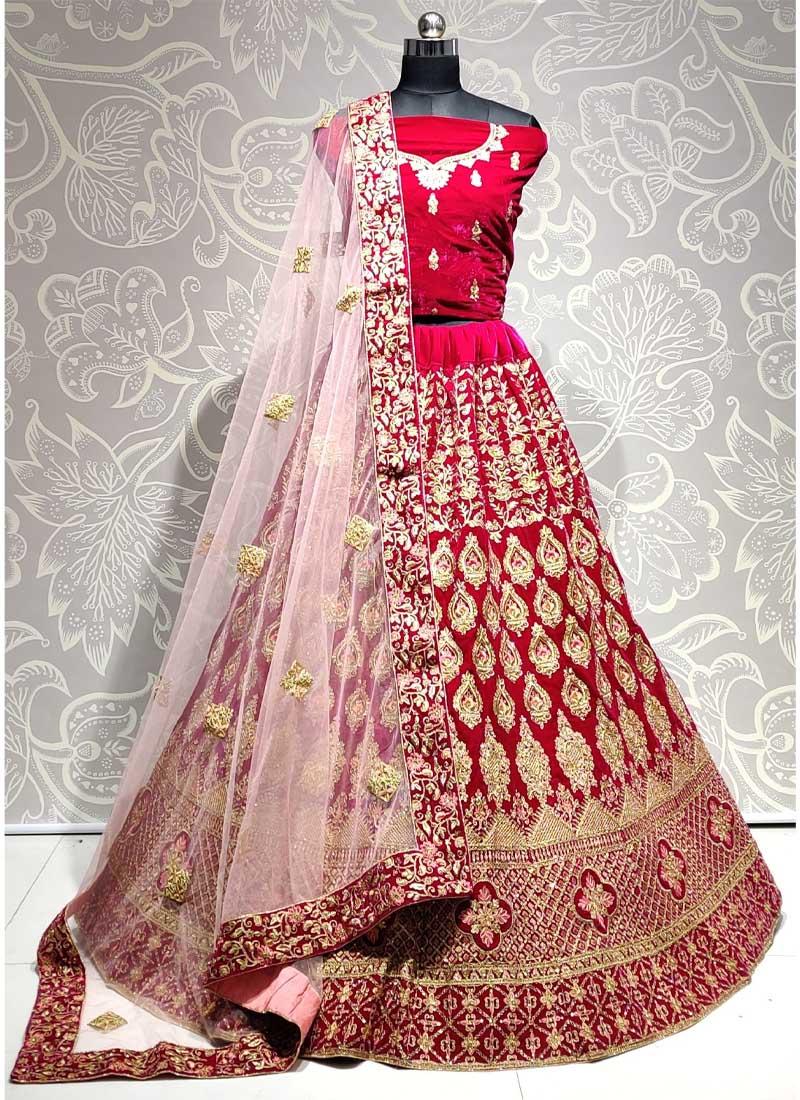 Pink Velvet Heavy Embroidered Bridal Lehenga Choli with Dupatta