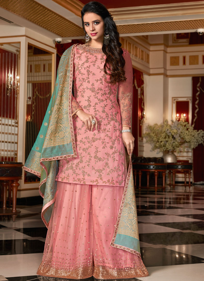 211d9df90e Pink Wedding Georgette Satin Designer Pakistani Suit. Hover to zoom