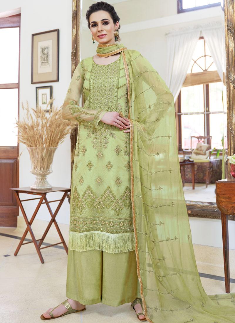 Piquant Green Organza Palazzo Designer Salwar Kameez