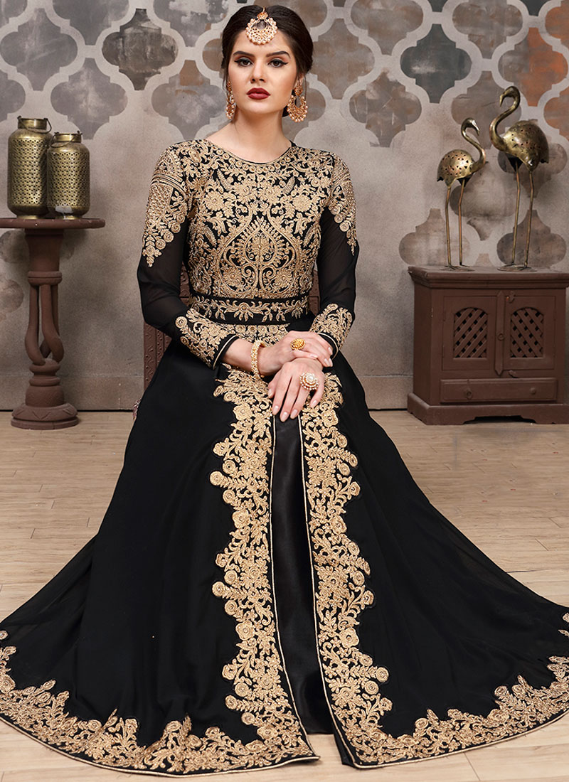 Piquant Resham Black Faux Georgette Floor Length Anarkali Suit