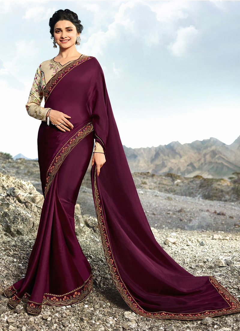 caa4d523c6 Prachi Desai Art Silk Lace Wine Designer Traditional Saree. Hover to zoom