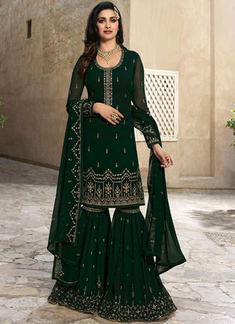 190232a0e2 Prachi Desai Faux Georgette Resham Green Designer Palazzo Suit
