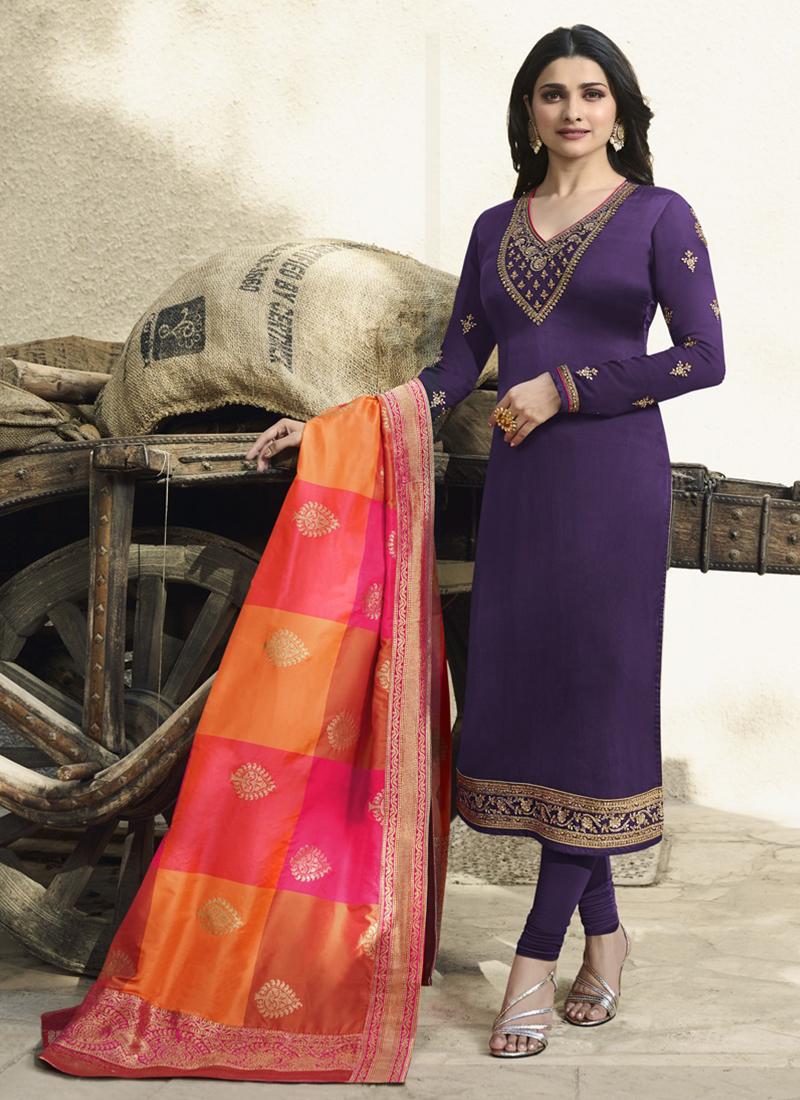 b286c58fc1 Prachi Desai Georgette Satin Embroidered Purple Churidar Designer Suit.  Hover to zoom