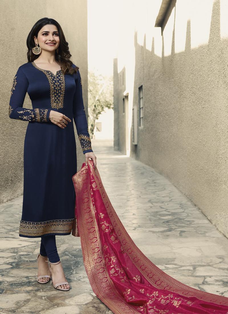 a3e784b24d Prachi Desai Navy Blue Churidar Designer Suit. Hover to zoom