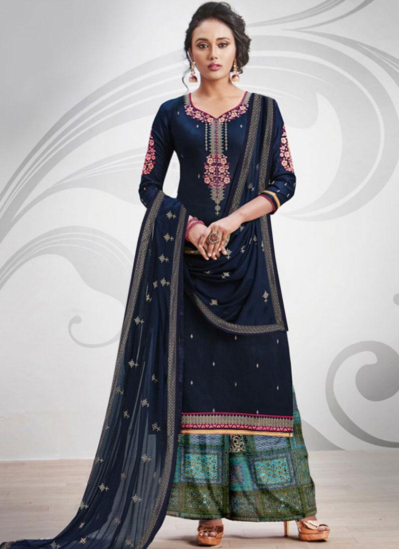 Praiseworthy Cotton Silk Navy Blue Designer Palazzo Salwar Kameez