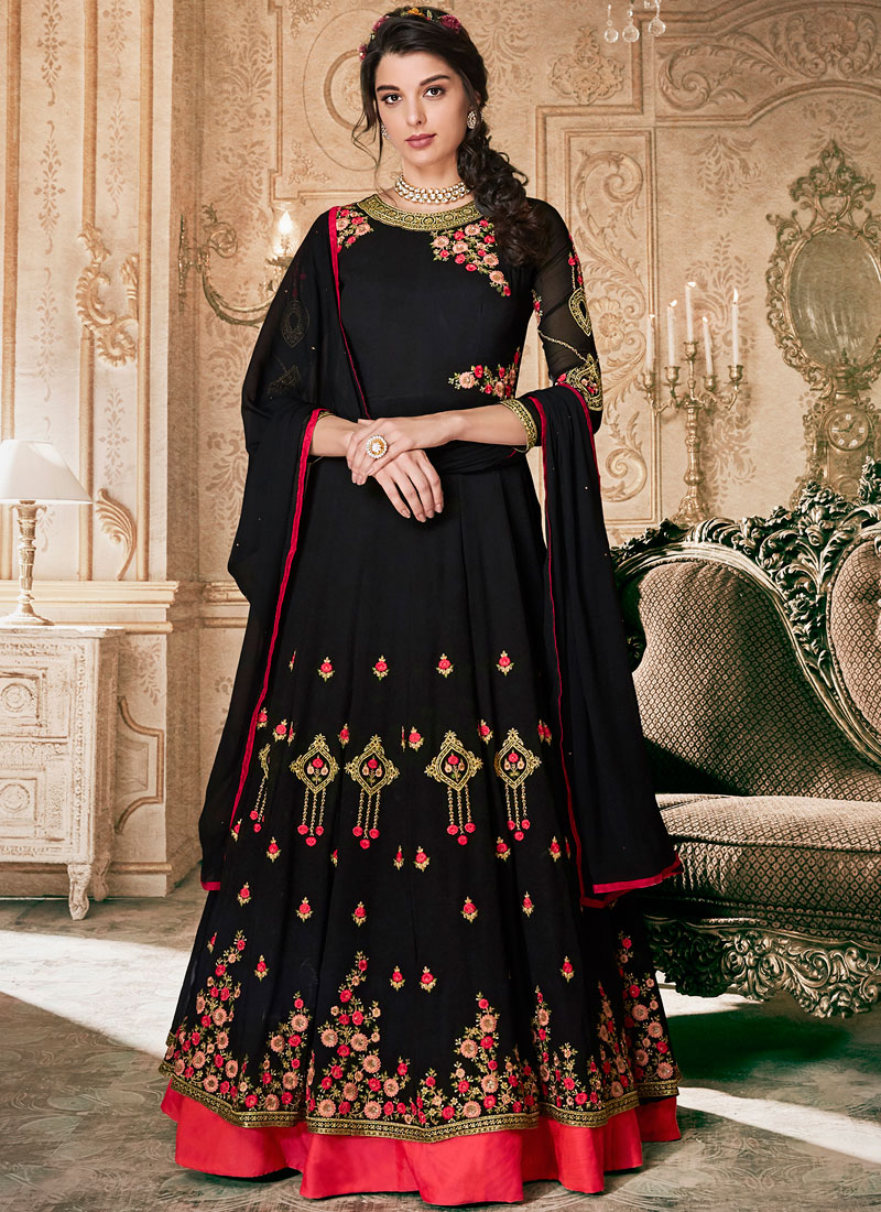 Precious Embroidered Black Floor Length Anarkali Suit