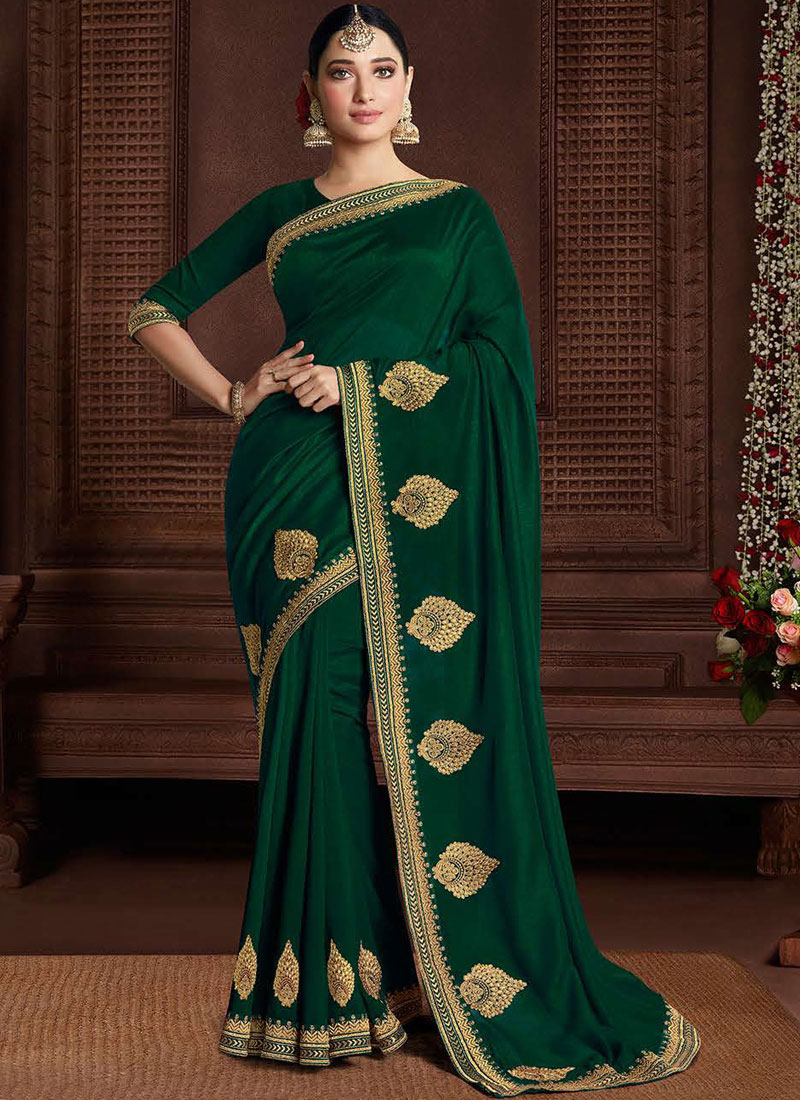 Prepossessing Embroidered Art Silk Green Classic Saree