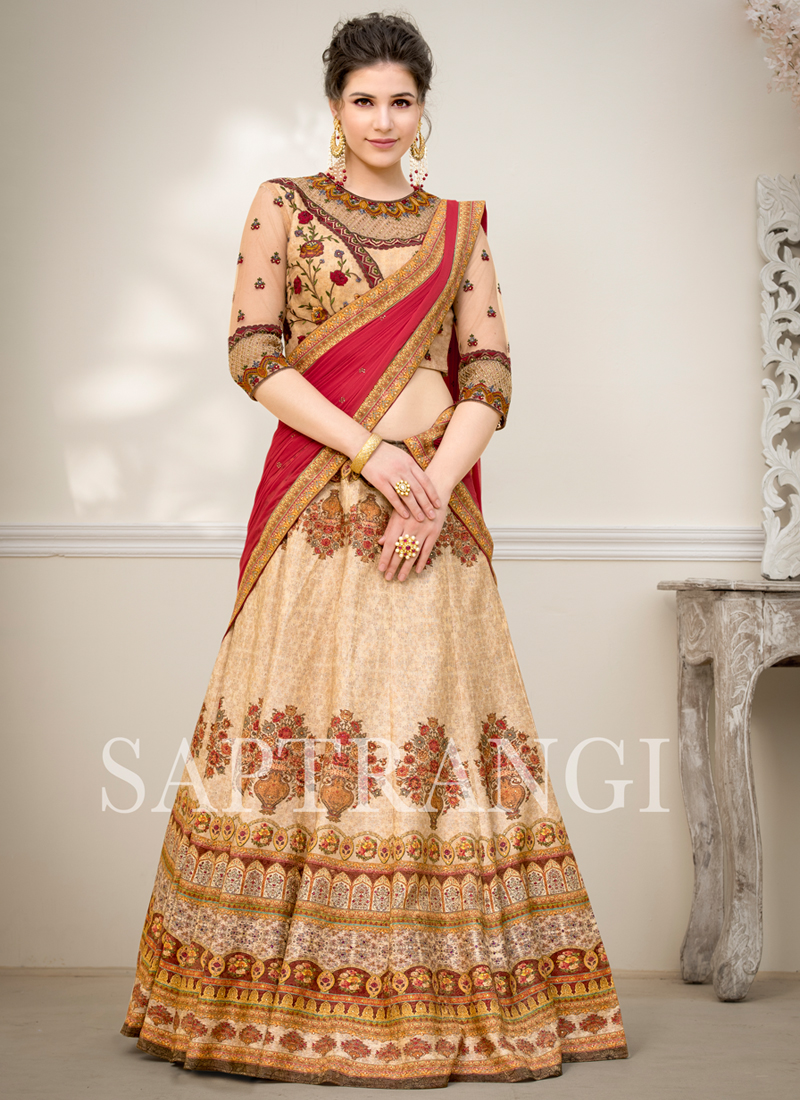 d5453a1f64 Prepossessing Embroidered Beige Fancy Fabric Lehenga Choli. Hover to zoom