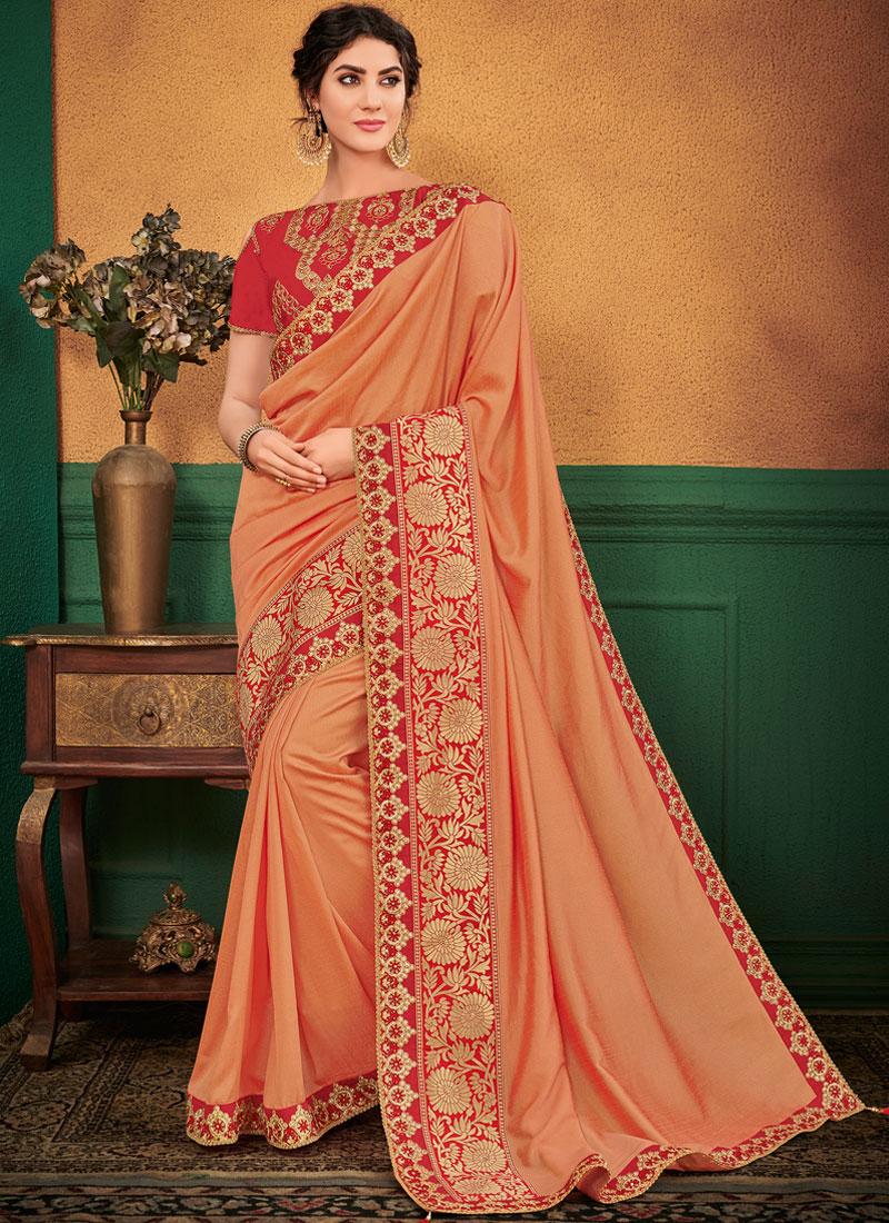 Prepossessing Patch Border Peach Designer Traditional Saree