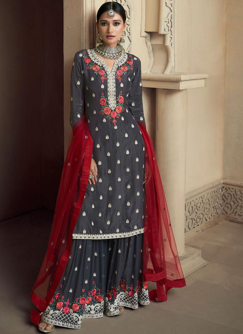Prime Embroidered Uppada Silk Designer Palazzo Suit