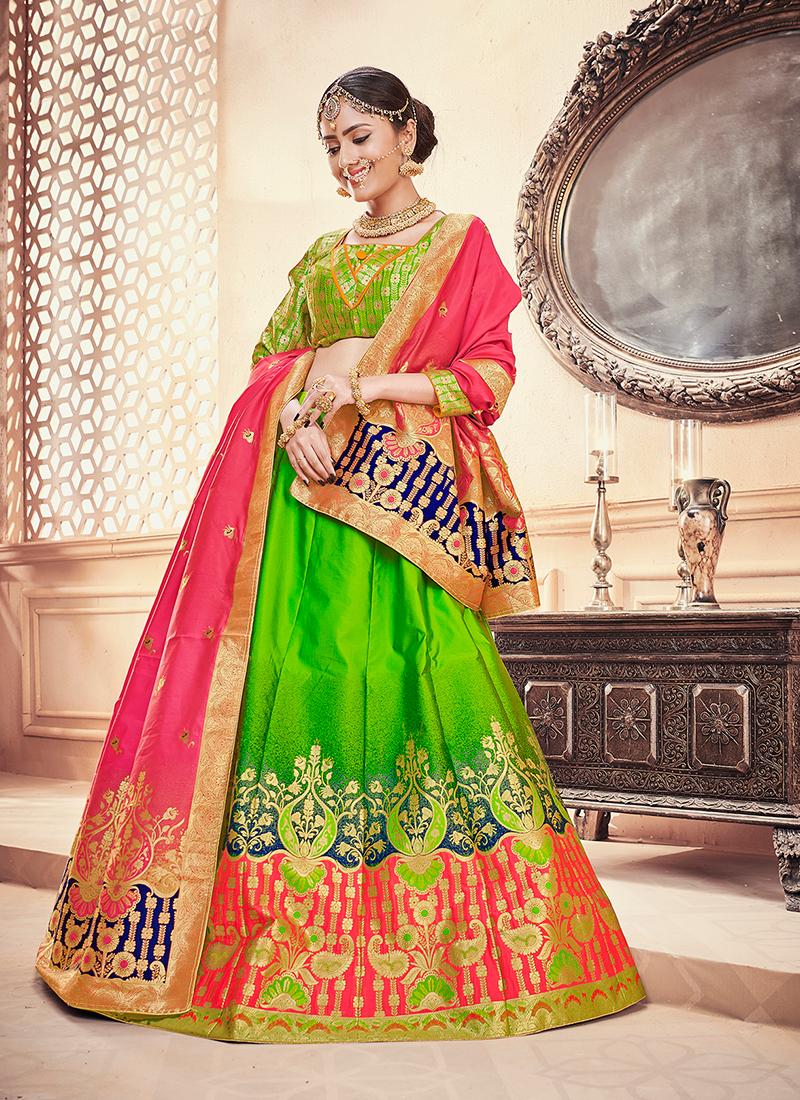 Princely Weaving Green Designer Lehenga Choli