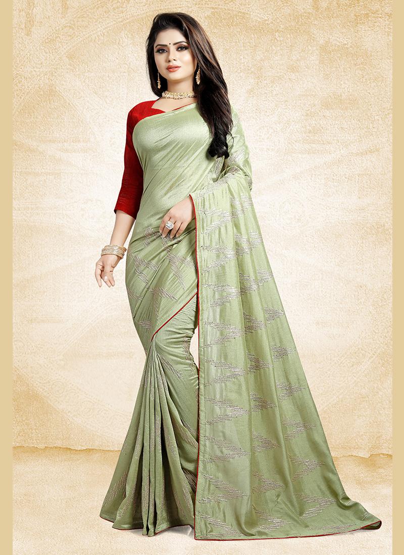Print Art Silk Traditional Designer Saree in Green