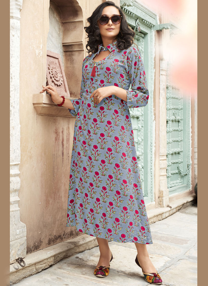 Pristine Rayon Printed Grey and Pink Casual Kurti