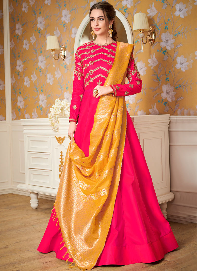 Prodigious Embroidered Satin Silk Hot Pink Readymade Gown