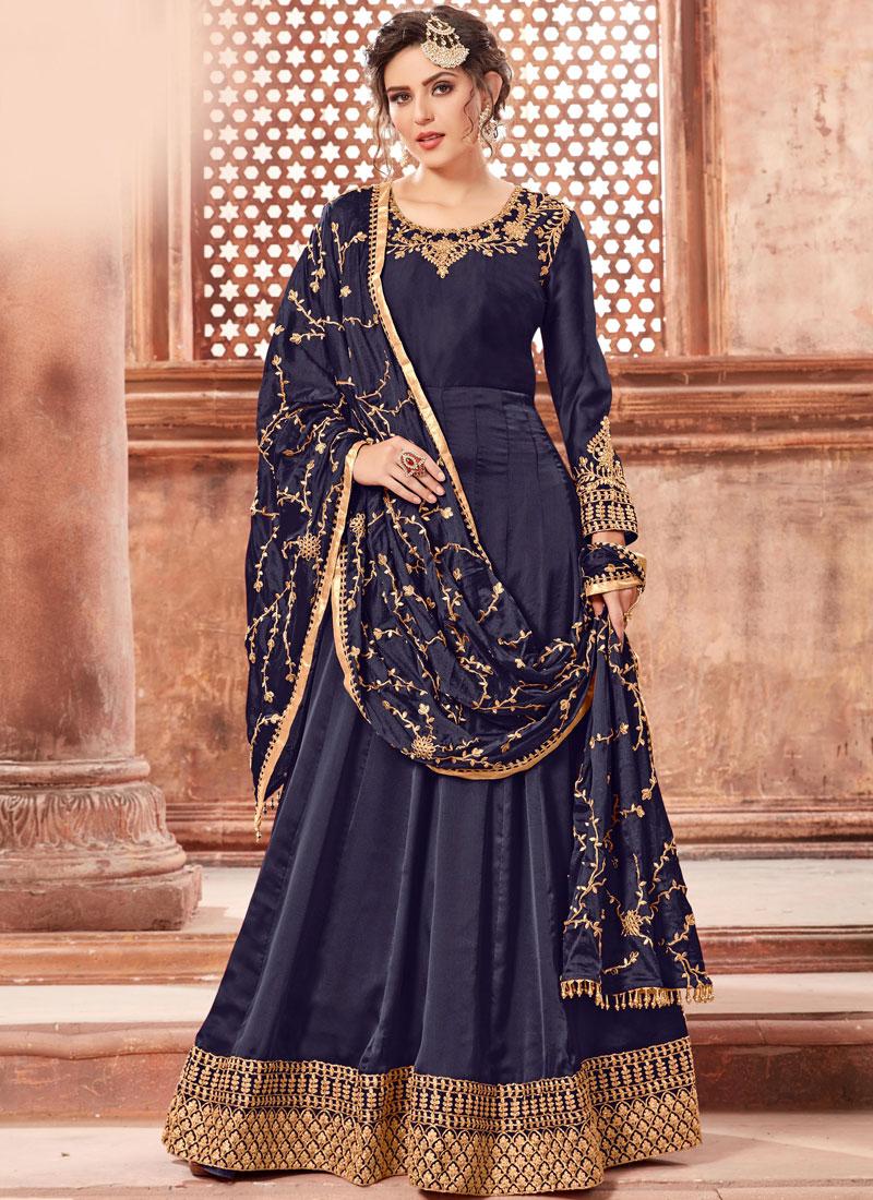 Prodigious Georgette Satin Aari Floor Length Anarkali Suit