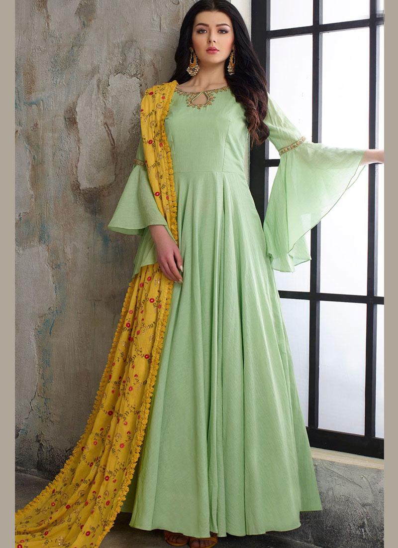 Prominent Cotton Green Handwork Readymade Anarkali Suit