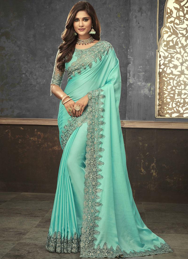 Prominent Satin Embroidered Designer Saree