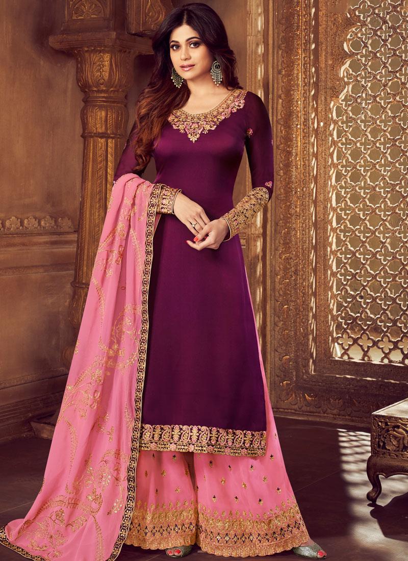 Purple Embroidered Palazzo Designer Salwar Kameez