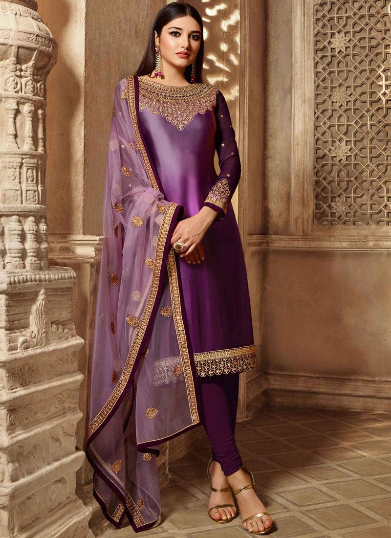 Purple Mehndi Georgette Satin Churidar Salwar Suit