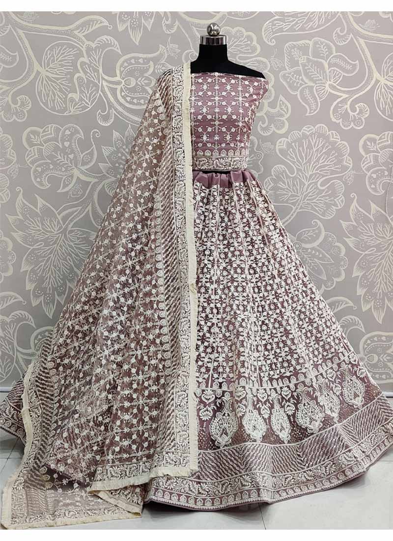 Purple Net Embroidered Work Designer Lehenga Choli with Dupatta