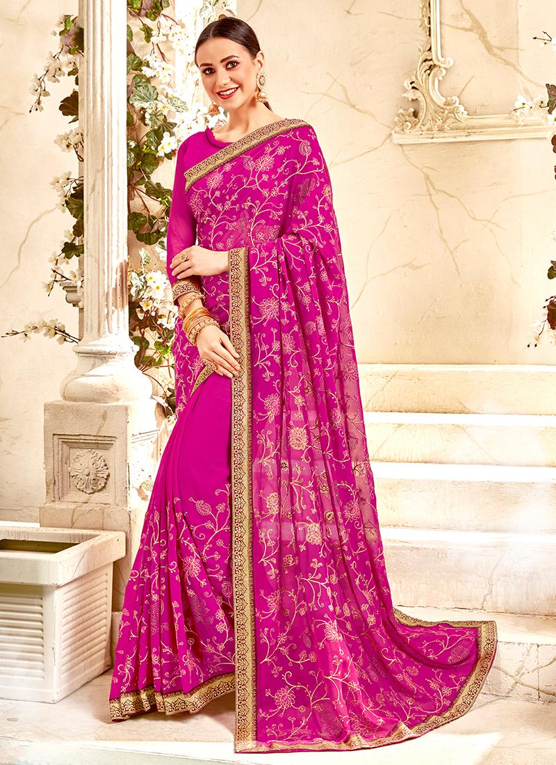 Rani Faux Georgette Classic Designer Saree