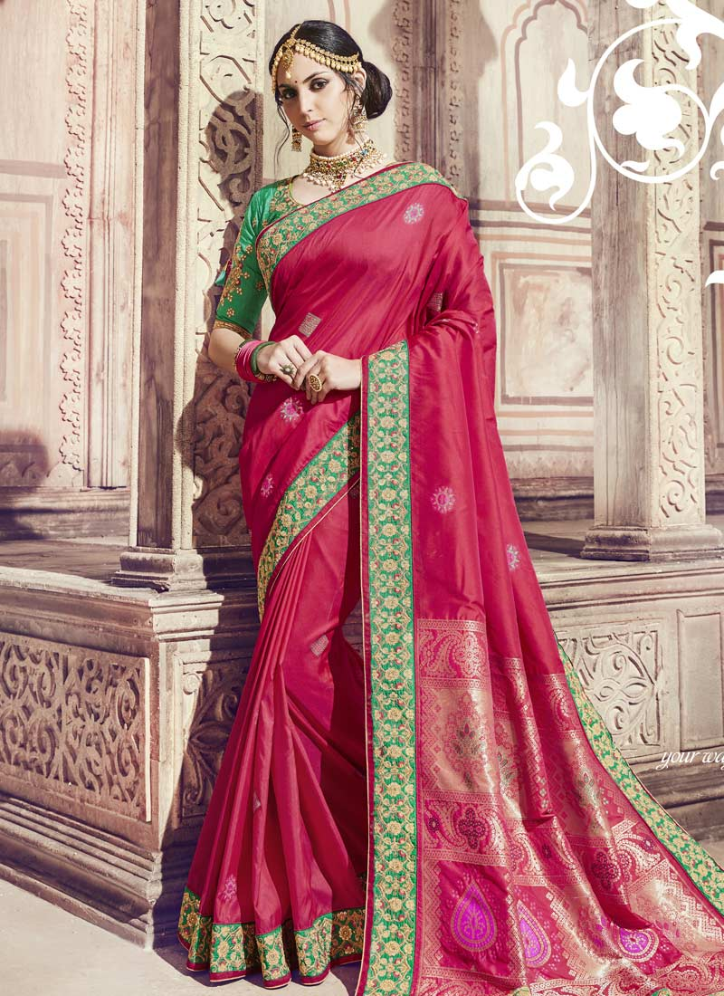 Ravishing Banarasi Silk Rani Handwork Designer Saree