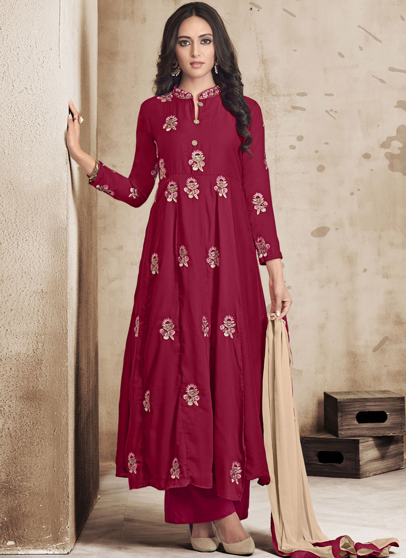 Ravishing Embroidered Maroon Designer Palazzo Salwar Suit
