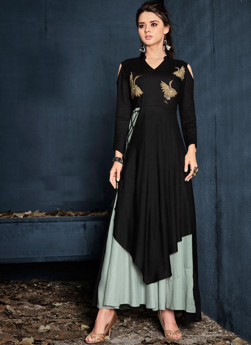 Ravishing Resham Rayon Designer Kurti