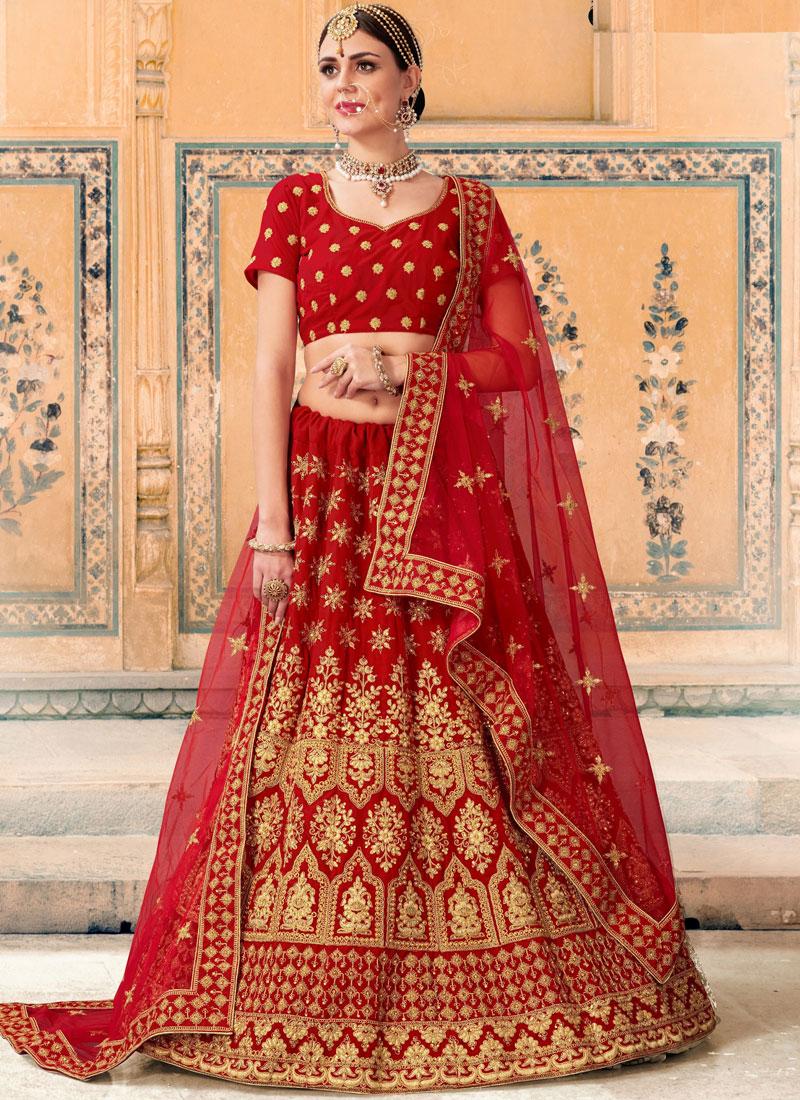 Ravishing Velvet Zari Red Lehenga Choli